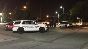 Police are searching for suspects after a man was robbed and assaulted in a gas station parking lot in Markham. (Mike Nguyen/ CP24)
