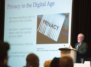 Wayne MacKay, a Dalhousie University law professor, addresses a conference session on cyberbullying in Halifax on Tuesday, July 26, 2016. The International Society for the Reform of Criminal Law is holding their international conference dealing with individual privacy and collective security. THE CANADIAN PRESS/Andrew Vaughan