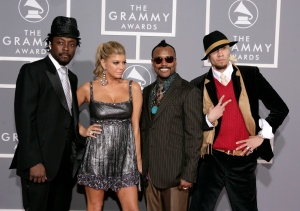 FILE - In this Feb. 11, 2007 file photo, The Black Eyed Peas, from left, will.I.am, Fergie, apl.de.ap and Taboo arrive for the 49th Annual Grammy Awards in Los Angeles. Fergie and the Black Eyed Peas haven't played together in five years, but they will be playing separate concerts in Philadelphia during the Democratic National Convention on Wednesday, July 27. (AP Photo/Matt Sayles, File)