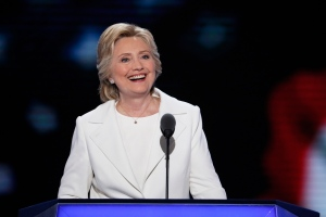 Democratic presidential nominee Hillary Clinton smiles during her speech during the final day of the Democratic National Convention in Philadelphia , Thursday, July 28, 2016. (AP Photo/J. Scott Applewhite)