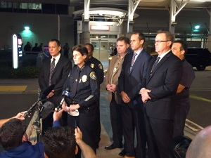 Officials provide reporters with an update after two officers were shot in San Diego late Thursday night. (Twitter.com/@SanDiegoPD)