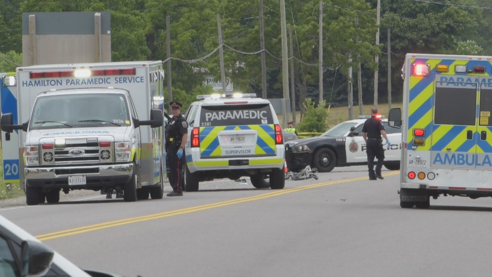 Two cyclists suffered life-threatening injuries after a collision near Hamilton.