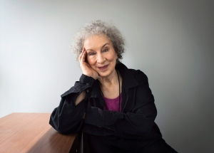"""Author Margaret Atwood sits for a portait while promoting her new books """"Angel Catbird"""" and """"Hag-Seed"""" in Toronto on Thursday, July 28, 2016. (Aaron Vincent Elkaim/The Canadian Press via AP)"""