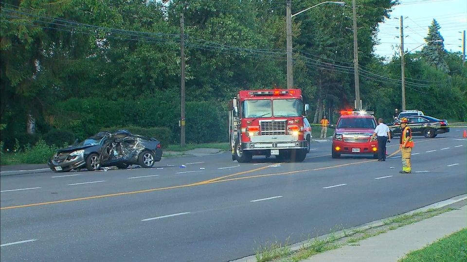 The wreckage of a fatal Pickering collision involving an Acura sedan and a dump truck on Bayly Street between Liverpool and Sandy Beach roads is pictured.