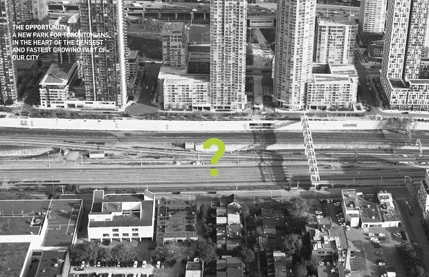 This rendering shows a park that is proposed for an area above existing rail tracks running through the downtown core. (City of Toronto)