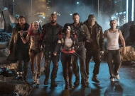 "This image released by Warner Bros. Pictures shows, from left, Jai Courtney as Boomerang, Margot Robbie as Harley Quinn, Will Smith as Deadshot, Karen Fukuhara as Katana, Joel Kinnaman as Rick Flag, Adewale Akinnuoye-Agbaje as Killer Croc and Jay Hernandez as Diablo, in a scene from ""Suicide Squad."" (Clay Enos/Warner Bros. Pictures via AP)"