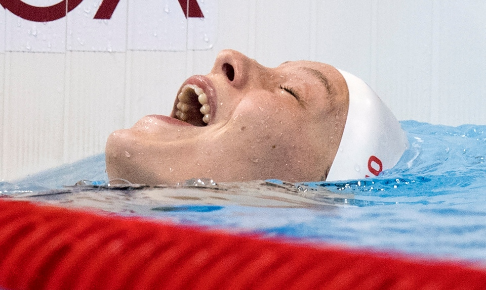 Canada's Penny Oleksiak reacts to her silver medal performance in the women's 100-metre butterfly at the 2016 Summer Olympics, Sunday, August 7, 2016 in Rio de Janeiro, Brazil. THE CANADIAN PRESS/Frank Gunn