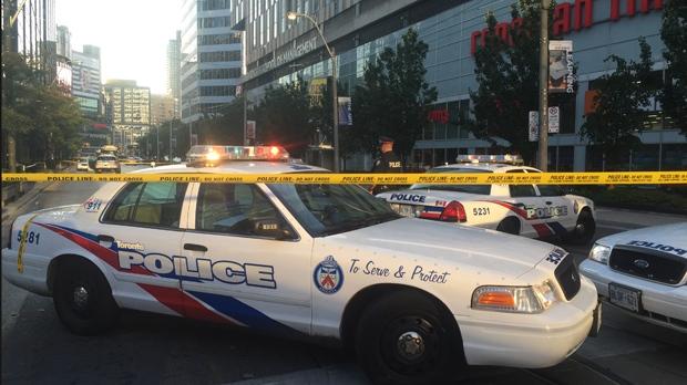 Man shot by police after stabbing near Yonge-Dundas Square