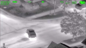 A vehicle is seen making strange turns in the area of Keele Street and Teston Road in Vaughan as its driver plays Pokemon GO in this aerial footage captured by York Regional Police on August 8, 2016. (OfficialYRP /YouTube)