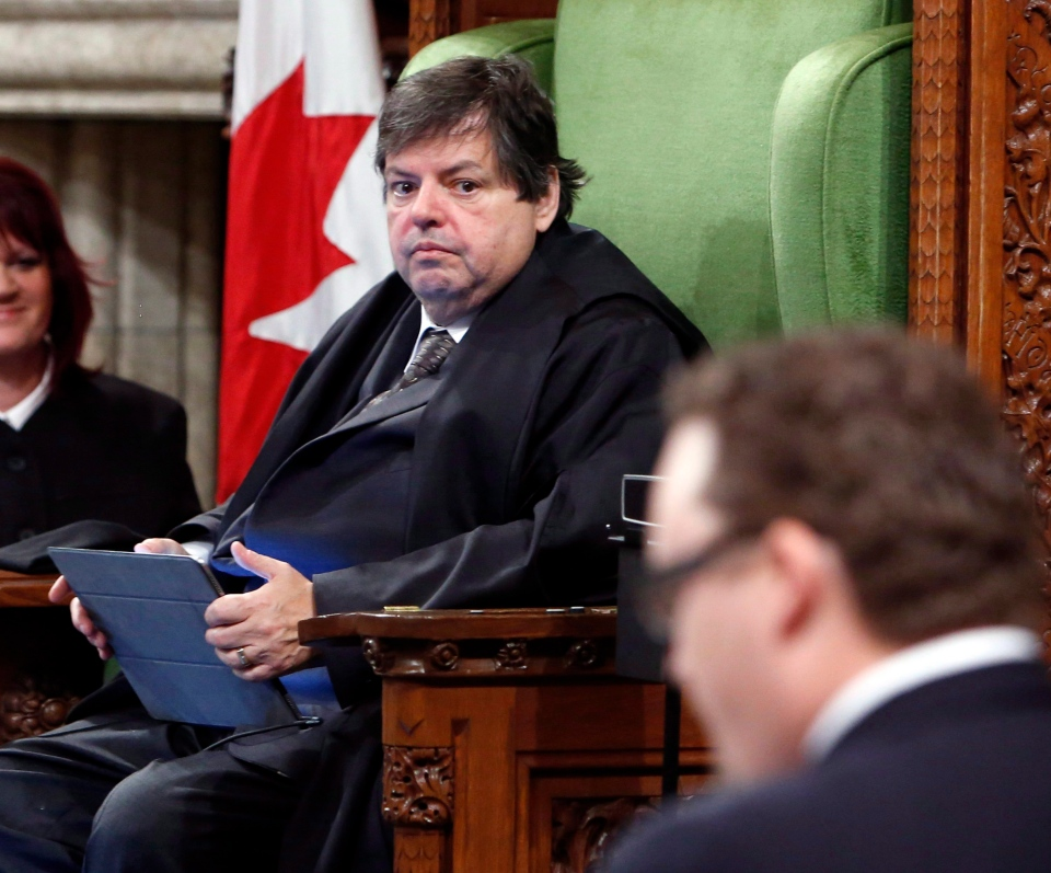 Liberal MP Mauril Belanger sits in the Speaker's Chair to preside over the House of Commons Wednesday, serving as honorary Speaker, in a tribute organized by his fellow MPs following his diagnosis with ALS last November, in Ottawa on Wednesday, March 9, 2016. (The Canadian Press/Fred Chartrand)