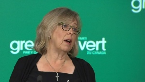 Elizabeth May speaks with reporters at a news conference Monday August 22, 2016.