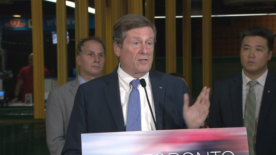 Mayor John Tory speaks at a transit announcement at St. Clair West Station Tuesday August 23, 2016.