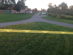 A mortar round was located in Intrepid Park, located near the Oshawa/ Whitby border. (Cam Woolley/ CP24)