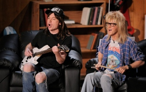 "Mike Myers, left, and Dana Carvey, of ""Wayne's World"" are seen on stage at the MTV Movie Awards on Sunday June 1, 2008 in Los Angeles. Party time, excellent: The film ""Wayne's World"" turns 25 next year and creator Myers says he wouldn't be against revisiting the titular character again. THE CANADIAN PRESS/AP/Mark J. Terrill"