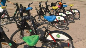 """Bike wrappers with the message """"wrap it and ride"""" are seen on bicycles on Aug. 26. (CP24)"""