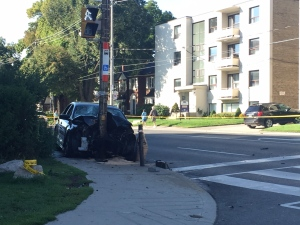 A vehicle that was involved in a serious collision in midtown Toronto on Saturday morning is shown. (Arda Zakarian)