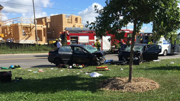 The wreckage of a multi-vehicle collision is pictured near 16th and Bur Oak avenues in Markham Monday August 29, 2016. (@JessCaro1320 /Twitter)