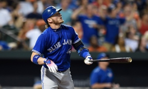 Toronto Blue Jays' Josh Donaldson watches his solo home run against the Baltimore Orioles in the fourth inning of a baseball game on Monday, Aug. 29, 2016, in Baltimore. (AP Photo/Gail Burton)