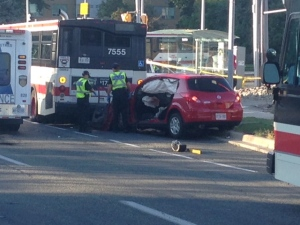 One person is dead and two others were injured following a crash involving a TTC bus in Scarborough. (Cam Woolley/ CP24)