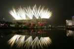 In this Aug. 8, 2008 file photo fireworks explode during the opening ceremony in the National Stadium at the Beijing 2008 Olympics in Beijing. (AP Photo/Bullit Marquez)