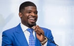 Nashville Predators defenceman P.K. Subban addresses a gathering nearly one year after making a $10-million pledge to the Montreal Children's Hospital Foundation, Wednesday, August 31, 2016 in Montreal. THE CANADIAN PRESS/Paul Chiasson