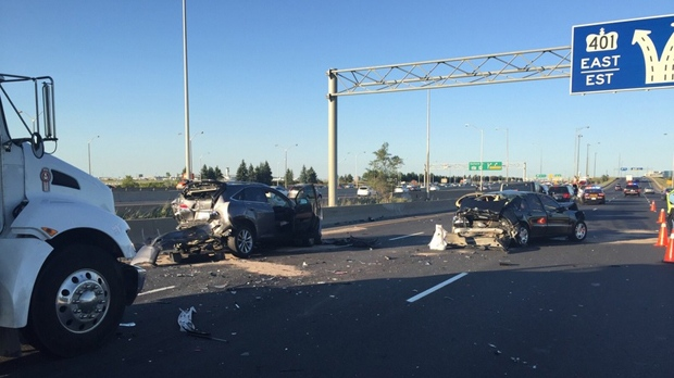 Man, 80, killed in seven-car crash on 401 in Mississauga | CP24 com