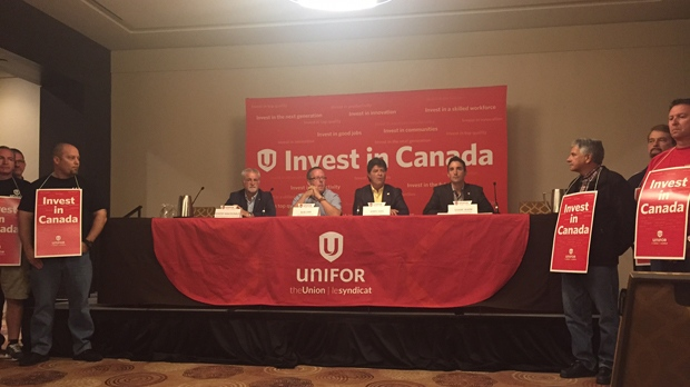 Unifor officials speak about contract negotiations with GM, Chrysler and Ford at a news conference on Aug. 6. (Arda Zakarian/CP24)