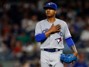 Toronto Blue Jays starting pitcher Marcus Stroman reacts during the fourth inning of a baseball game against the New York Yankees on Wednesday, Sept. 7, 2016, in New York. (AP Photo/Adam Hunger)