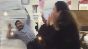 A staff member careens into a mattress tower in a tasteless social media video posted by a Texas mattress company.