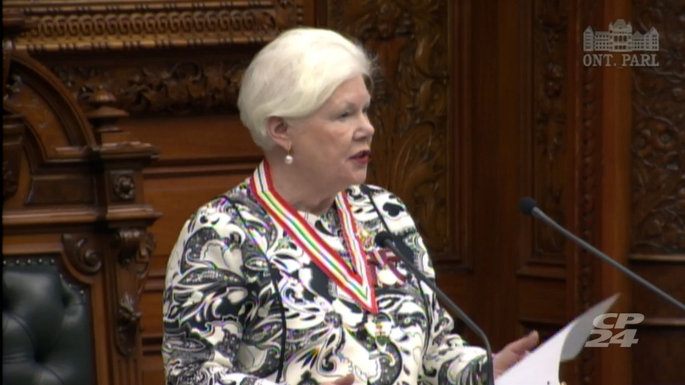 Lt.-Gov. Elizabeth Dowdeswell delivers a speech from the throne at Queen's Park Monday September 12, 2016.