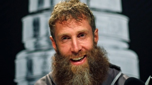 San Jose Sharks' Joe Thornton talks to reporters during Stanley Cup Finals media day in Pittsburgh, Sunday May 29, 2016. THE CANADIAN PRESS/AP, Gene J. Puskar