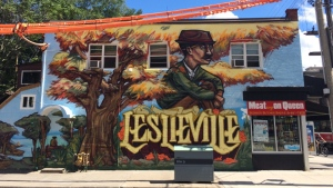 "A new Leslieville mural created by artist Jabari ""Elicser"" Elliott is pictured at the corner of Queen Street East and Jones Avenue in this publicity image for the mural launch. (Handout)"