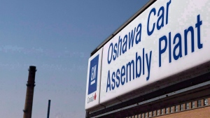 A sign outside Oshawa's General Motors car assembly plant is shown in Oshawa, Ont., Sept.17, 2012. A spokeswoman for Unifor says there has been some progress in the union's negotiations with General Motors. (The Canadian Press/Michelle Siu)