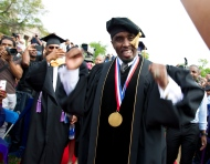 """In this May 10, 2014, file photo, entertainer and entrepreneur Sean """"Puff Daddy"""" Combs arrives to the 2014 Howard University graduation ceremony at Howard University in Washington. (AP Photo/Jose Luis Magana)"""