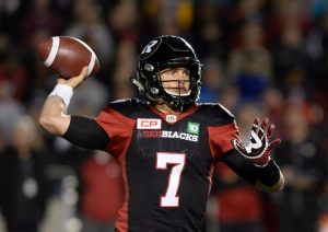 Ottawa Redblacks quarterback Trevor Harris (7) throws the ball against the Toronto Argonauts during first half CFL action on Friday, Sept. 23, 2016 in Ottawa. (The Canadian Press/Justin Tang)
