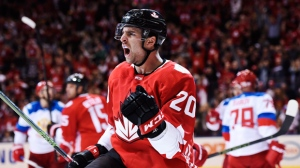 Team Canada's John Tavares (20) celebrates his goal against Team Russia during third period World Cup of Hockey semifinal action in Toronto on Saturday, September 24, 2016. THE CANADIAN PRESS/Nathan Denette