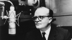 """FILE - This 1966 file photo shows author Truman Capote in a studio recording the narration for his film adaptation of his short story, """"A Christmas Memory,"""" in New York. Capote's 1958 typed manuscript of """"Breakfast at Tiffany's"""" with the author's handwritten edits has sold for about $306,000 at auction to a Russian billionaire. The manuscript, expected to net at least $250,000, was offered for sale online by the Amherst-based auction house RR Auction. RR Auction says the winning bidder is Russian retail billionaire Igor Sosin, who plans to display it in Moscow and Monaco. (AP Photo, file)"""