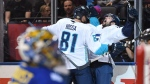 Team Europe's Tomas Tatar (right) celebrates his goal with teammate Marian Hossa (81) past Team Sweden goaltender Henrik Lundvqist during third period semifinal World Cup of Hockay action in Toronto, Sunday, September 25, 2016. THE CANADIAN PRESS/Frank Gunn