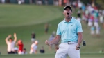 Rory McIlroy of Northern Ireland reacts after sinking his birdie putt on the fourth playoff hole, the sixteenth hole,  to win the Tour Championship golf tournament at the East Lake Golf Club in Atlanta, Georgia, USA, 25 September 2016.  McIlroy, Moore and Kevin Chappell finished in a tie forcing a three-player playoff, The tournament is the final of the FedEx Cup playoffs.  EPA/ERIK S. LESSER