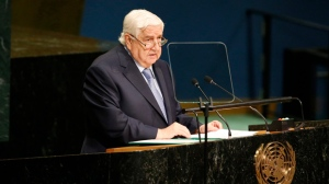 Syria's Foreign Minister Walid al-Moallem addresses the 71st session of the United Nations General Assembly at U.N. headquarters, Saturday, Sept. 24, 2016. (AP Photo/Jason DeCrow)