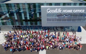 Employees stand outside the home office of Goodlife Fitness in London, Ont., in this undated handout image. (The Canadian Press/HO-GoodLife Fitness)