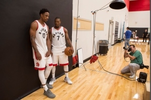 Toronto Raptors' DeMar DeRozan (left) and Kyle Lowry pose for a photo shoot during a media day for the team in Toronto on Monday, Sept. 26, 2016. (The Canadian Press/Chris Young)