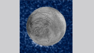This Jan. 26, 2014 image provided by NASA shows a composite image of possible water plumes on the south pole of Jupiter's moon Europa. Europa is among several moons in the solar system where evidence of an underground ocean has been discovered in recent years. The Hubble data were taken on January 26, 2014. The image of Europa, superimposed on the Hubble data, is assembled from data from the Galileo and Voyager missions. (NASA via AP)