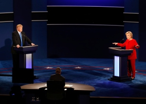 Democratic presidential nominee Hillary Clinton gestures as she appears on stage with Republican presidential nominee Donald Trump during the presidential debate at Hofstra University in Hempstead, N.Y., Monday, Sept. 26, 2016. (AP Photo/Mary Altaffer)