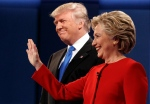 Republican presidential candidate Donald Trump, left, stands with Democratic presidential candidate Hillary Clinton at the first presidential debate at Hofstra University, Monday, Sept. 26, 2016, in Hempstead, N.Y. (AP Photo/ Evan Vucci)