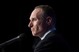 Toronto Blue Jays new president and chief executive officer Mark Shapiro answers questions at a press conference in Toronto on Monday, November 2, 2015. Shapiro met with Dunedin officials Monday night regarding proposed upgrades to the club's spring-training facility that would help keep the franchise in the only spring home it's ever known. THE CANADIAN PRESS/Marta Iwanek