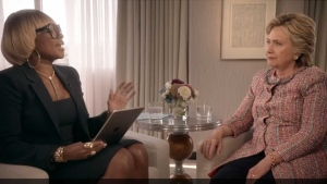 Mary J. Blige sings to Hillary Clinton in a clip of an interview posted to Twitter. (@AppleMusic /Twitter)