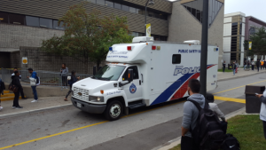 Police conduct an investigation at Centennial College's progress Campus Wednesday September 28, 2016. (Submitted)