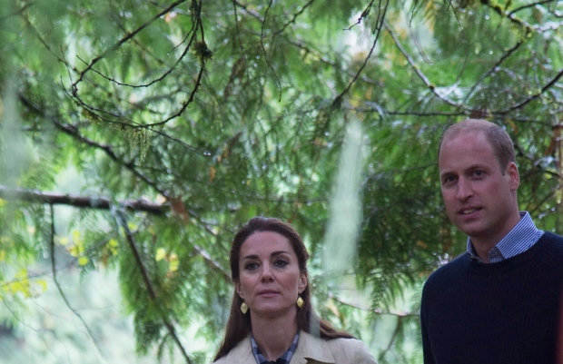 The Duke and Duchess of Cambridge walk through the Great Bear rainforest in Bella Bella, B.C., Monday, Sept 26, 2016. THE CANADIAN PRESS/Jonathan Hayward