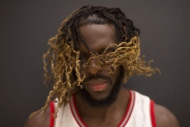 Toronto Raptors' DeMarre Carroll shakes his head during a photo shoot at a media day event for the team in Toronto on Monday, Sept. 26, 2016. (The Canadian Press/Chris Young)
